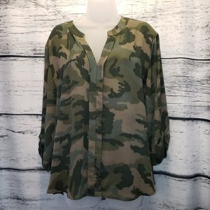 New York & Company Soho Camo Print Top